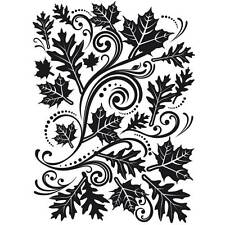 Darice Embossing Folder FALL LEAF BACKGROUND Swirls Dots 1218-33  Card Making