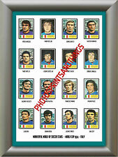 ITALY - WORLD CUP 74 - REPRO STICKERS A3 POSTER PRINT