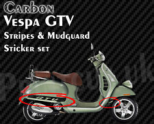 Carbono negra a rayas VESPA GTV Decal Sticker Kit GT V 125, 200, 250, 300, G T V