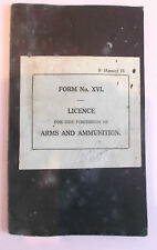 1943-1945  arms and  munitions  permit for RA officer india / Burma service