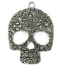 2Pcs Antique Tibetan Silver FLOWER SKULL Charm Pendant Necklace Findings