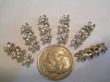 6 - 2/3 HOLES PLATINUM PLATED FLOWER CLEAR CRYSTALS SLIDER SPACER BEADS BARS