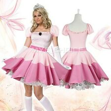 Sexy Lady Cosplay Princess Peach Costume Fancy Dress Gaming Outfit One size Fits
