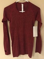NWT Lululemon Size 12 Swiftly Tech LS Crew Long Sleeve BLK/TUED Red Black