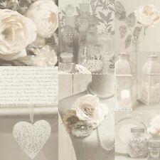 Arthouse Charlotte Neutral Wallpaper 665203 Elegant Floral Hearts Roses Pearls