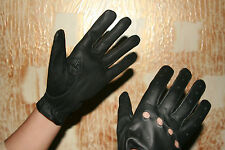 Ladies Women's Black Genuine Real Leather Driving Shooting Soft Gloves LARGE