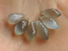 Natural Grey Moon Stone Faceted Chandelier Briolette Gemstone Beads 001