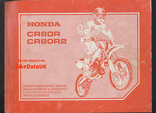 Honda Cr80, Cr 80 r/r2 (2000-on) Factory work-shop Manual, escuela boy/junior Vmx