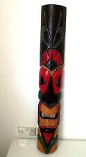 1 mètre en bois tiki maori tribal masque ornement mural 6566
