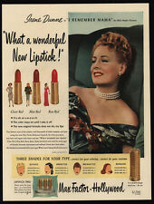 1947 IRENE DUNNE - Max Factor Hollywood Lipstick - Make-Up - VINTAGE AD