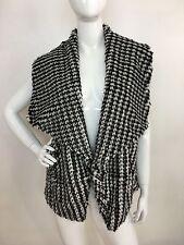 JouJou New Women's Black White Printed Faux Fur Dip Dye Vest Jacket 1X  NWT