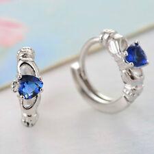 Chic Women Jewelry Claddagh Celtic 925 Silver Heart Sapphire Stud Hoop Earrings