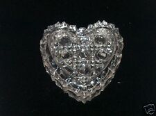 VTG CLEAR GLASS HEART SHAPED TRINKET BOX  - CIRCULAR DESIGNS ON LID