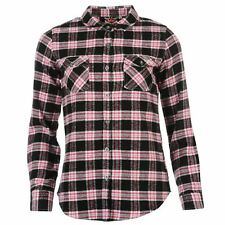 Lee Cooper Long Sleeved Flannel Shirt - Ladies Size 12 - Black/Pink/White - New