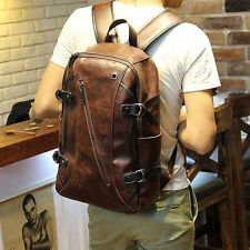 16inch Brown Men's Leather Backpack bags shoulder Briefcase laptop tote bags