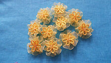 UK- Fabric-Yellow-Organza Ribbon-Flowers-Appliques-Trimmings-Wedding- 30mm x 10