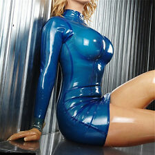 Sexy Bodycon Latex Women Dress Slim Transparent Blue Rubber Vestidos