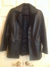 BANANA REPUBLIC BLACK BUTTER LEATHER TOP JACKET COAT Petite Xs Free Shipping