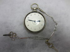 """Antike Englische SPINDEL-UHR + Gehäuse + Uhrenkette - """"SMART - LONDON"""" - SILBER"""