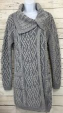 NEW Aran Mor Gray Irish Wool Cable Knit Long Cardigan Sweater Sz Medium