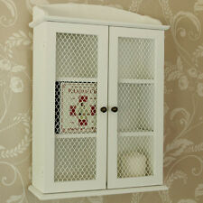 white wooden mesh wall cabinet shabby vintage style home bathroom storage unit