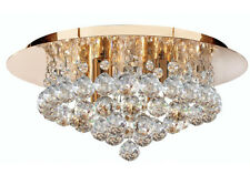 Stylish Flush Ceiling Light In Gold With Crystal Ball Droplets 4 x 40W