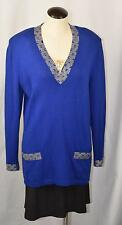 St. John Marie Gray Tunic Sweater Top Gold & Blue Beads Vintage 14
