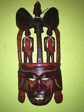 WOOD HAND CARVED & PAINTED AFRICAN MASK
