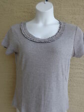 Being Casual Ribbed Cotton Knit Ruffled Scoop Neck Tee Top Gray 1X