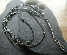 """Silvery Moon""  Handmade Glass Beads ID Lanyard Badge Holder Women ID Necklace"