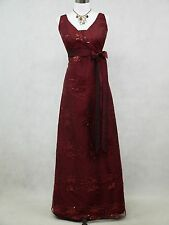 Cherlone Burgundy Wedding/Evening Gown Sparkle Bridesmaid Formal Dress UK 18-20