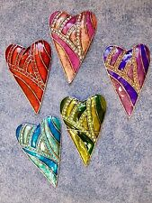 Jewelled Primitive Heart Needle Minder Colour Choices Cross Stitch Gift Present