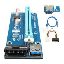 USB 3.0 PCI-E Express 1x to 16x Extender Riser Card SATA 15P-4Pin Power Adapter
