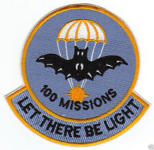 "VIETNAM WAR ERA PATCH, BLIND BAT 100 MISSIONS, ""LET THERE BE LIGHT""            Y"