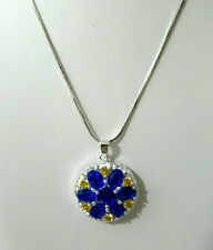 White Gold Necklace Simulated Blue Sapphire Flower Pendant 18in 9k Womens
