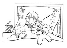 Unmounted Rubber Stamp, Stamps, Cute, Sick Girl in Bed, Get Well, Get Well Soon