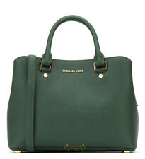 MICHAEL KORS SAVANNAH MOSS GREEN SAFFIANO LEATHER MEDIUM SATCHEL BAG
