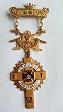 14K Gold Mason Roundout Past Commander Knights Templar Cross Pin Badge Jeweled