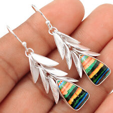 Rainbow Calsilica Leaves Overlay Silver Earrings  SE103538