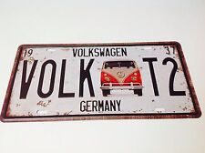 VOLKSWAGEN CAMPER VAN T2 TARGA / BEATLE Wall Decor Vintage Cartello Placca STAGNO