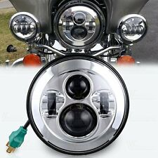 """7"""" Round LED Projector Daymaker Headlight for Harley Street Glide FLHX Chrome"""