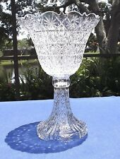 "Vintage Pinstar by Towle 15"" Lead Crystal English Triffle Pedestal Bowl Bohemian"