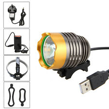 Rechargeable 5000LM CREE XML T6 LED USB Head Front Bike Light Headlight 4x18650