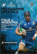 Italy v Argentina 15 Nov 2014 Genova RUGBY PROGRAMME