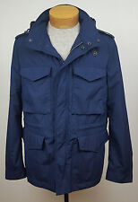 NWT Burberry Brit Navy Blue Hooded Utility Chore Jacket Windbreaker Coat Size M