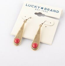 LUCKY BRAND Gold-Tone Red Bead Oblong Drop Earrings JLD2178 NWT