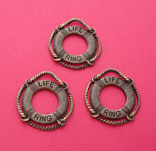 6pcs-Life Ring Preserver Saver Charms Antique Bronze 2 Sided