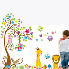 Animal Wall Stickers Jungle Zoo Safari Tree Nursery Baby Kids Bedroom Decors Art