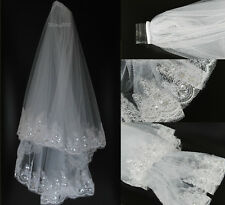 2t New white bridal Veil for wedding with embroidery and sequins comb attached