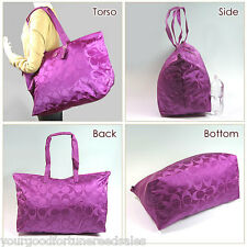 Coach XL Overnight Violet Nylon Packable Weekend Tote Travel Duffle Bag F 77316